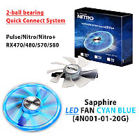 Sapphire LED FAN CYAN BLUE (4N001-01-20G) 2-ball bearing, Quick Connect System