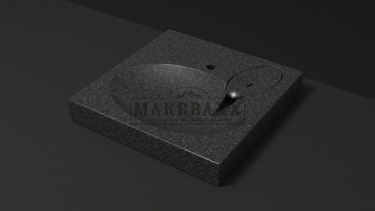 Раковина над стиральной машиной Мэйси V5 (чёрный). Мрамор.