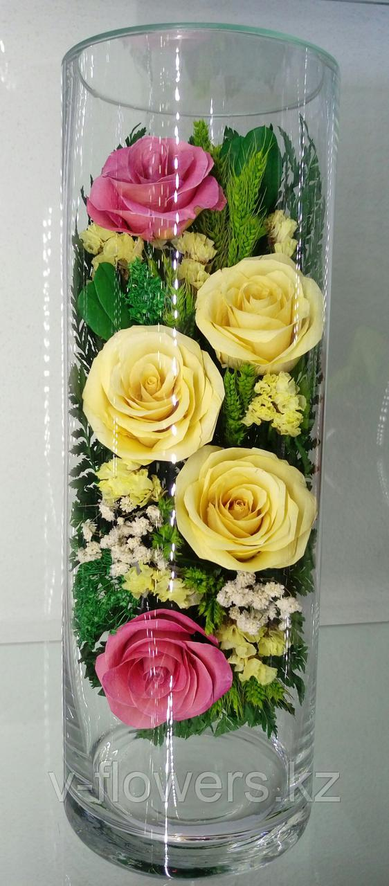 Живые цветы в стекле CLR5c