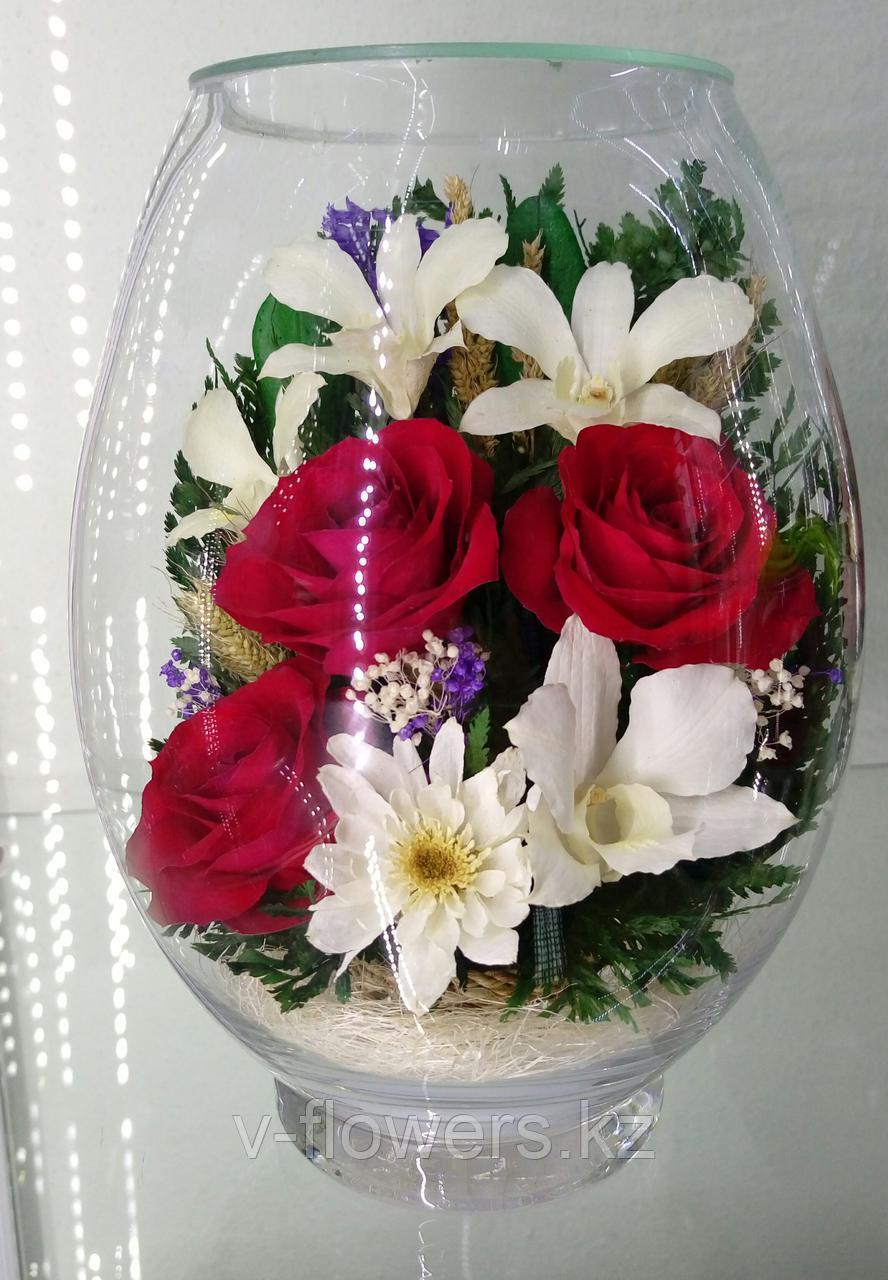 Живые цветы в стекле VSM3
