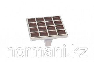 Ручка-скоба 32 мм, отделка никель глянец + шоколад