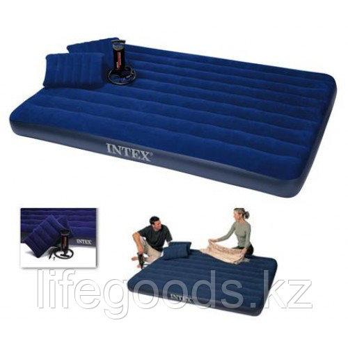 Двуспальный надувной матрас 203х152х22см с двумя подушками и насосом, Intex 68765