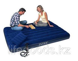 Двуспальный надувной матрас 203х152х22см с двумя подушками и насосом, Intex 68765, фото 2