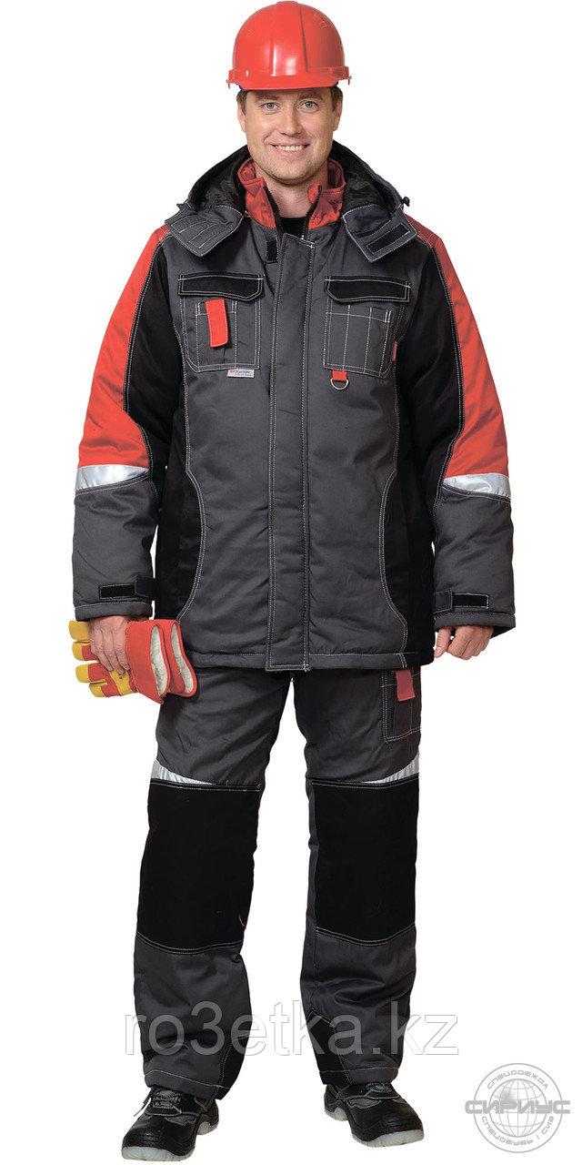 """Костюм """"Фаворит-Мега"""": зимний куртка дл.,п/комбинезон темно-серый с черным и красн. и СОП"""