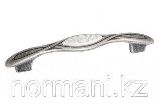 Ручка-скоба 128мм, отделка серебро античное + вставка