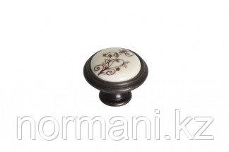 Ручка-кнопка, отделка бронза темная + керамика