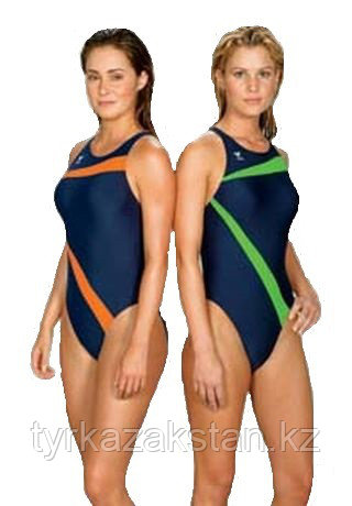 Слитный купальник TYR Poly Lumina Vaporback цвет зеленый/синий размер 22