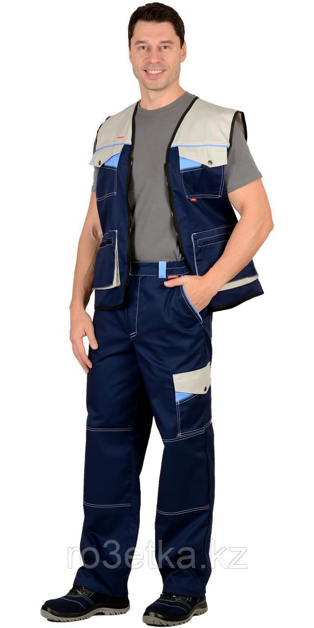 """Костюм """"ПЕРСЕЙ"""" : жилет, брюки, т.синий с молочным и голубым"""