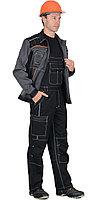"""Костюм """"Престиж"""" : куртка, п/к """"Престиж"""" чёрный, цв. серый с оранжевым кантом"""