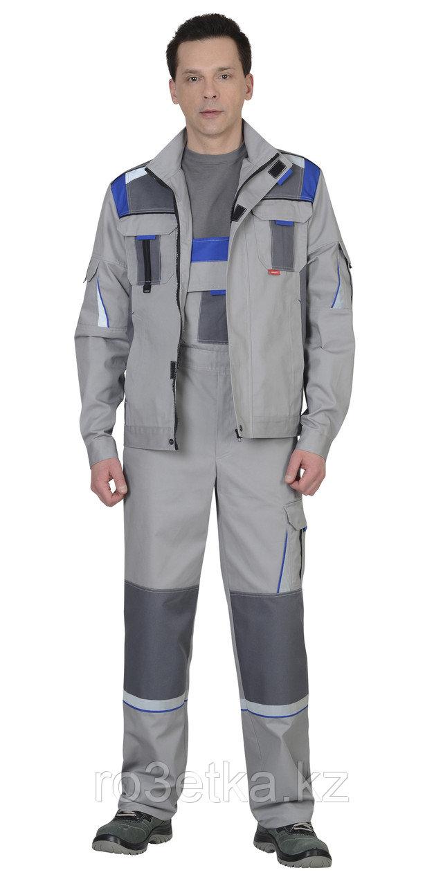 """Костюм """"СТАН"""" : куртка кор., полукомб. св.серый со ср.серым и васильковым"""