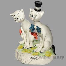 Статуэтка Кот и Кошка. Керамика. Италия. Ручная работа