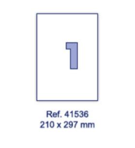 Наклейки А4, 210х297мм, 1/лист, 100 листов