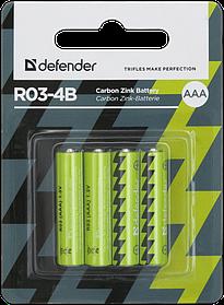 Элемент питания R03 AAA Defender солевая  R03-4B - 4 штуки в блистере