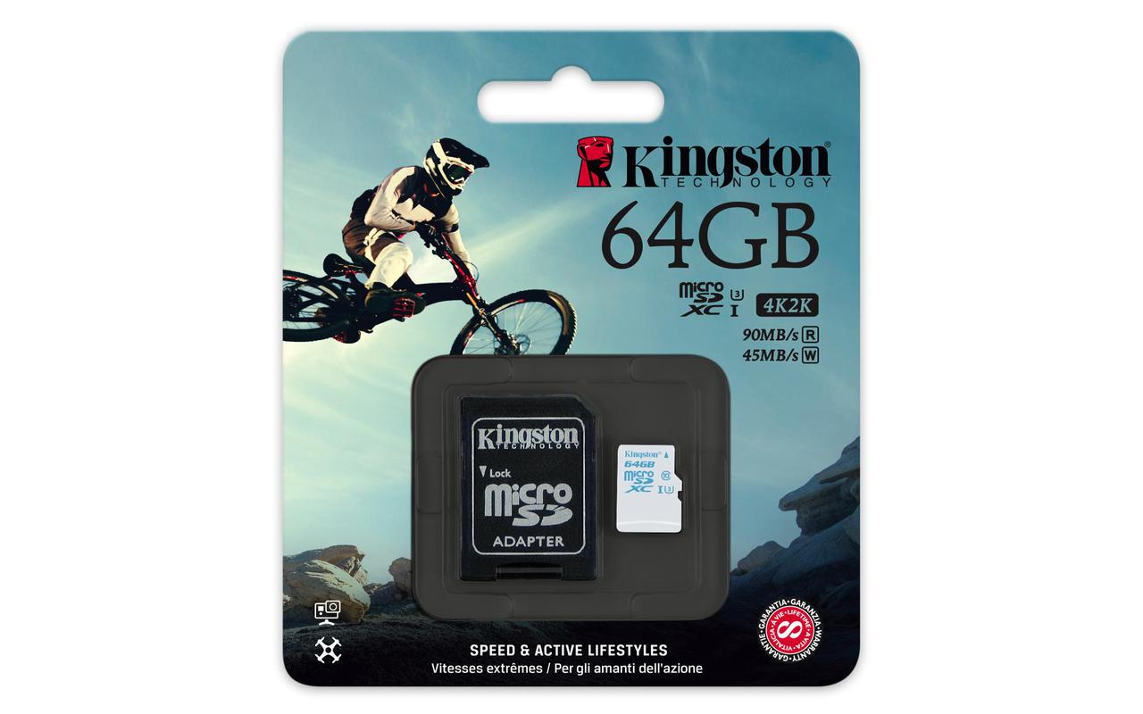 Карта памяти MicroSD 64GB Class 10 U3 Kingston SDCAC/64GB