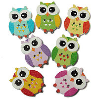 100шт 2 отверстия Multicolor Cute Owl Шаблон Wooden Кнопки