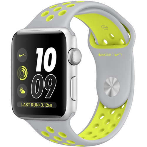 Часы apple watch series 2 42mm nike+ silver aluminum case with flat silver/volt nike sport band