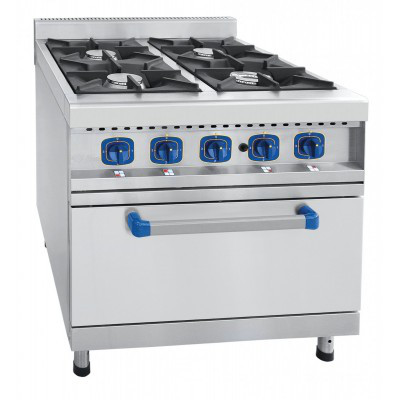 Газовая плита 4-х горелочная ПГК-49ЖШ газовая духовка, 900 серия, нерж.,800x900x970 мм.