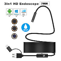 Bakeey 3 in 1 7mm 6Led Type C Micro USB Endoscope Inspection камера Мягкий кабель для ПК Android