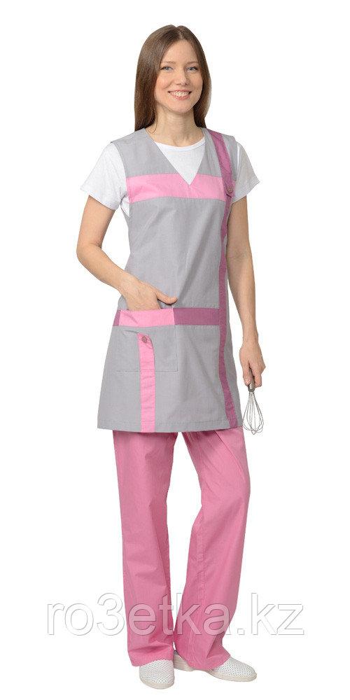 """Комплект """"ГАЛАТЕЯ"""" женский: фартук, брюки серый с розовым"""