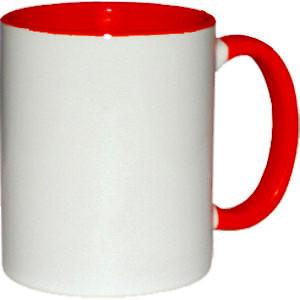 Кружка керамическая белая внутри и ручка красная