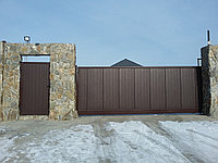 Выдвижные ворота с автоматикой и калитка  , фото 1