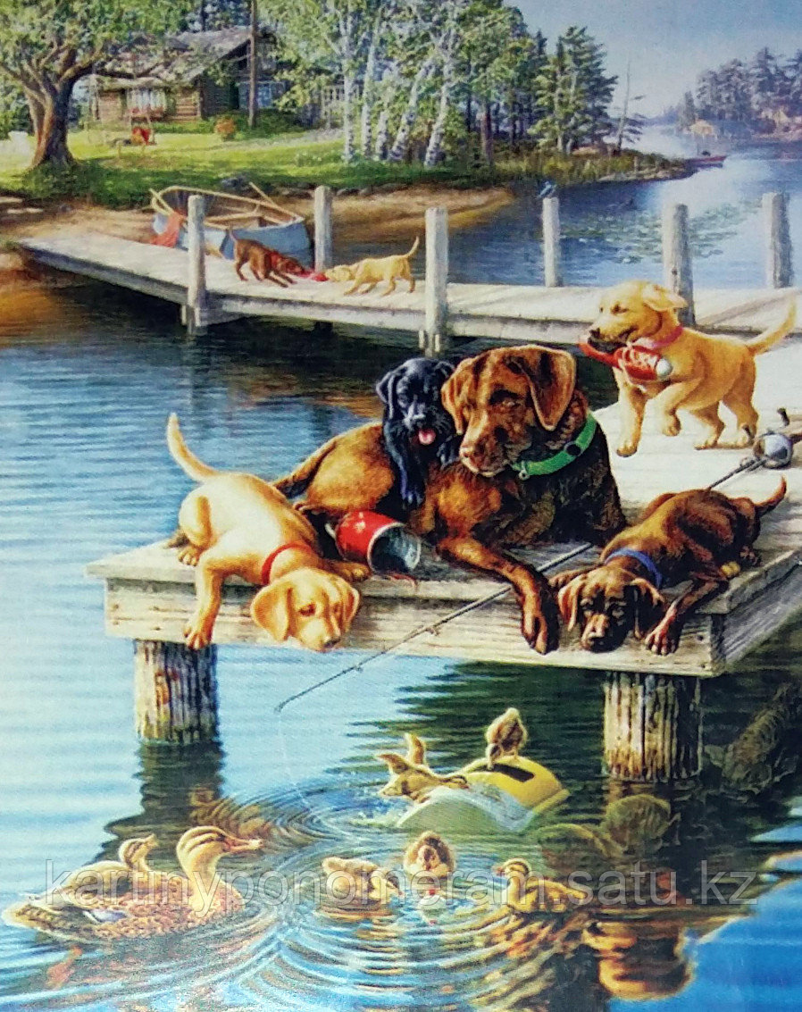 "Картина по номерам ""Любимцы на рыбалке"""