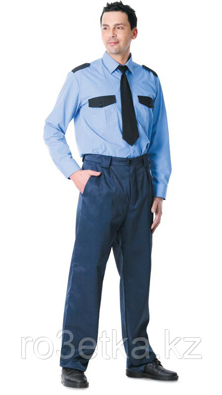 Рубашка охранника длинный рукав синяя