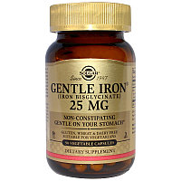 Solgar, Мягкое железо (хелат), 25 мг , 90 капсул. Не раздражает желудок,не вызывает запоров.