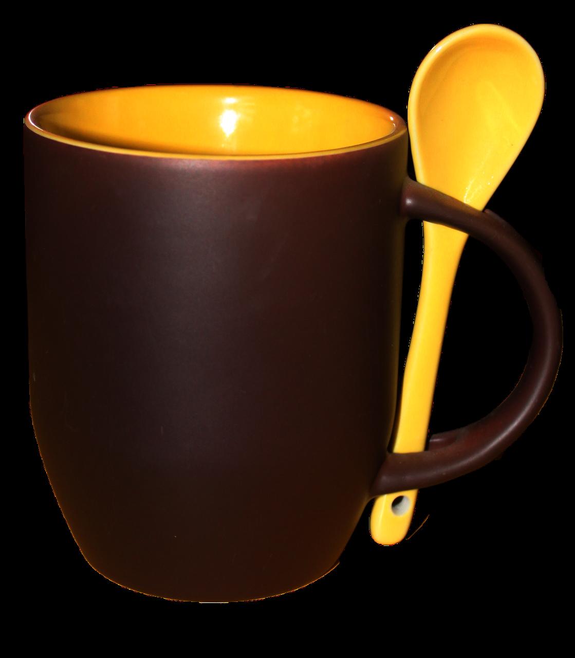 Кружка керамическая хамелеон с ложкой желтая