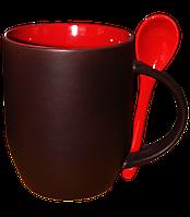 Кружка керамическая хамелеон с ложкой красная