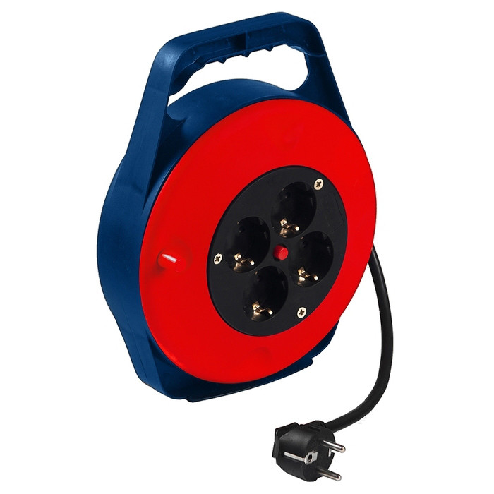 (95701) Удлинитель силовой на кабельной катушке в закрытом корпусе, 3*1мм*10м, 4 розетки, 10A, STERN
