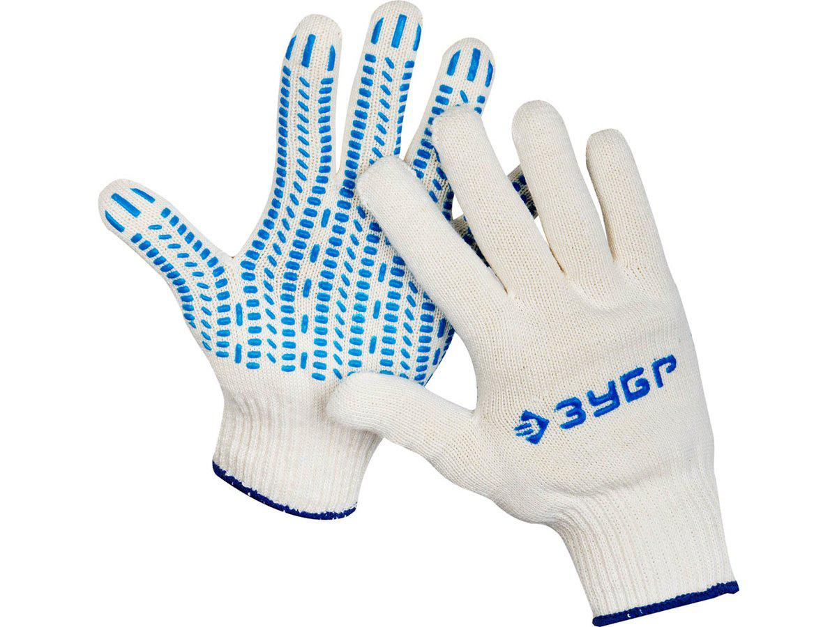 """(11452-XL) Перчатки ЗУБР """"ЭКСПЕРТ"""" трикотажные, 10 класс, х/б, с защитой от скольжения,L-XL"""