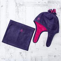 Комплект зимний для девочки (шапка и шарф-снуд), размер 48, цвет фиолетовый W47103 _М