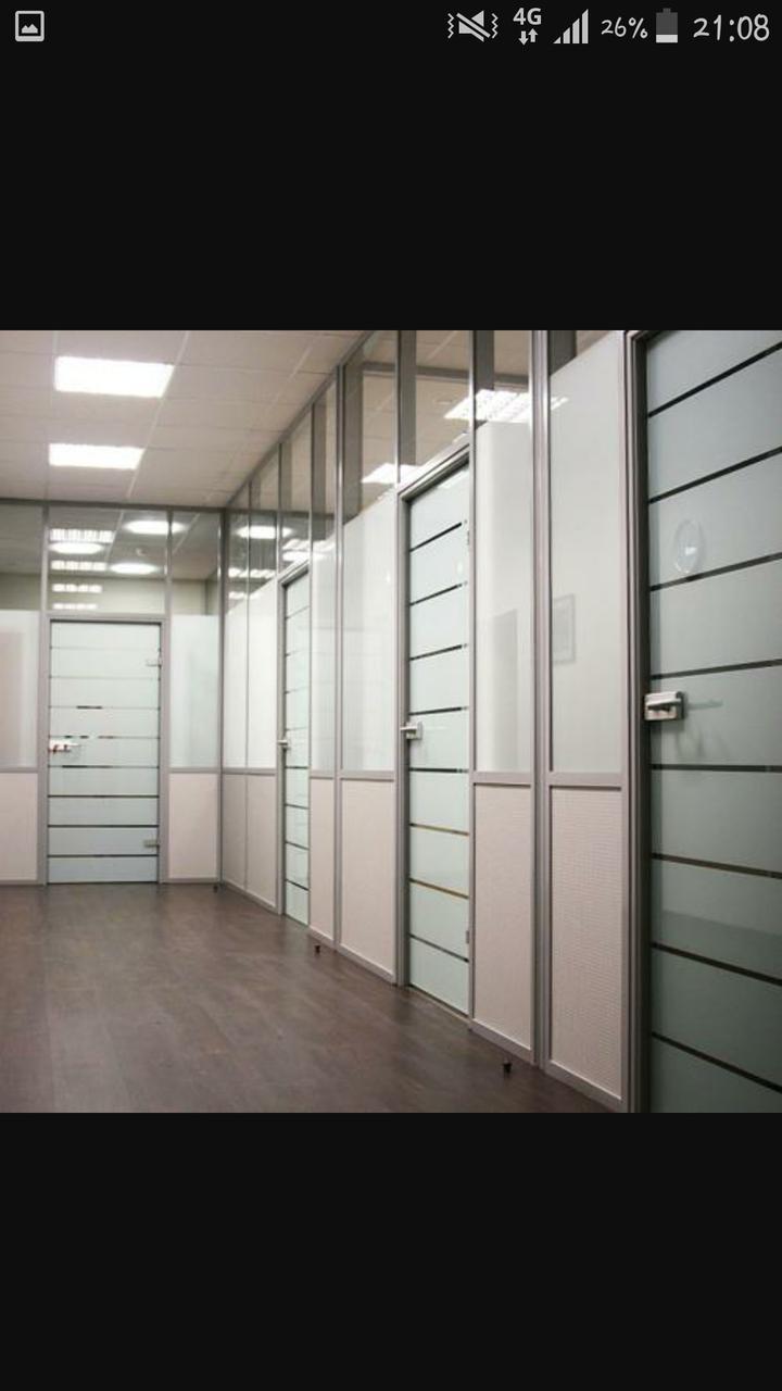 Алюминиевые перегородки для зонирования пространства в офисе