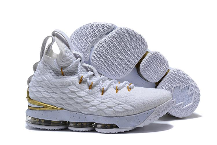 """Баскетбольные кроссовки Nike LeBron XV (15) """"White/Gold"""" (40-46)"""