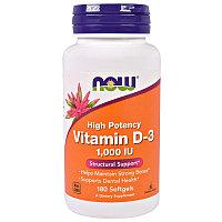 Now Foods, Витамин D-3 1,000 МЕ, 180 капсул.