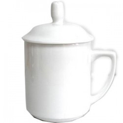 Кружка керамическая белая с крышкой 11 oz