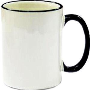 Кружка керамическая белая ободок и ручка черная