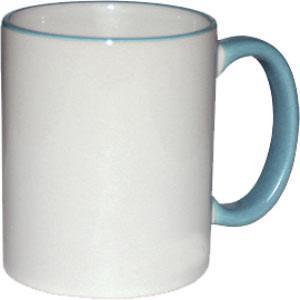 Кружка керамическая белая ободок и ручка голубая