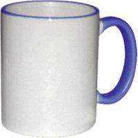 Кружка керамическая белая ободок и ручка т.синяя