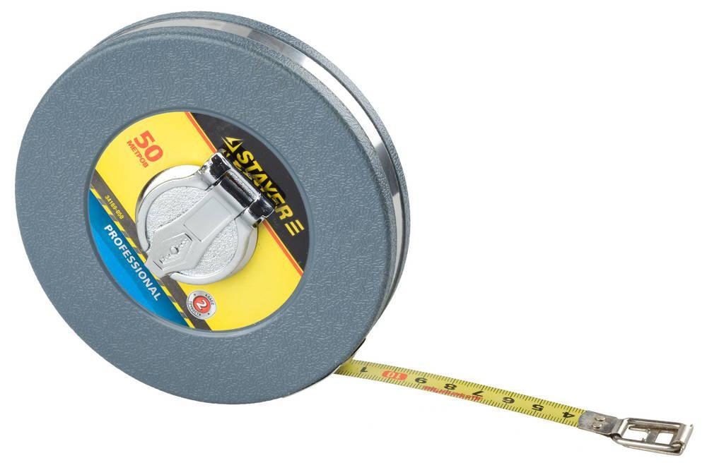 (34169-050) Мерная лента STAYER, стальное полотно, ударопрочн. пластмасс.корпус, 50м х 13мм
