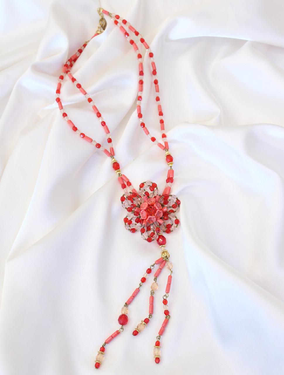 Колье Коралловый цветок. Муранское стекло