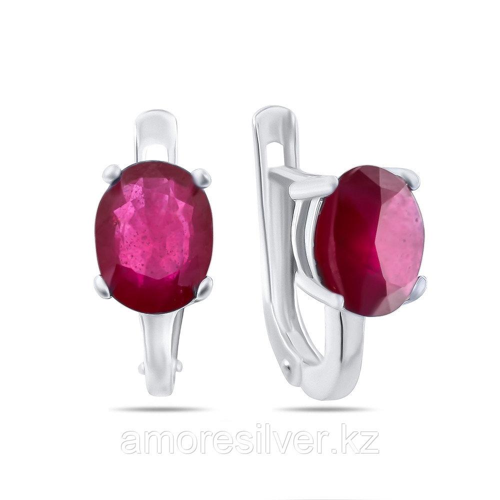 """Серебряные серьги с рубином бренд TEOSA """"драгоцен. камни"""" , родирование """"Каратник"""" , натуральный камень, есть комплект"""