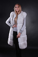 Жилет жилетка из цельного финского вуалевого песца, длина 100 см Finn Finland bluefox blue fox long fur vest