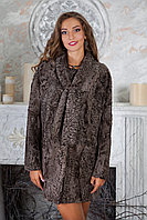 Пальто из каракульчи свакара с шарфом swakara broadtail jacket coat furcoat
