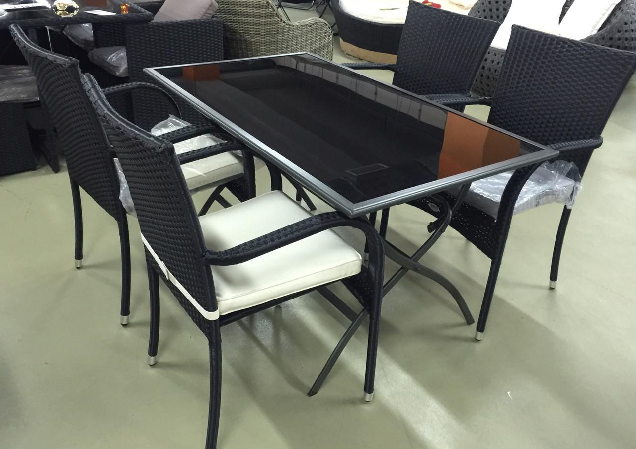 Комплект стол металлический с черным стеклом (складной) и 4 стула