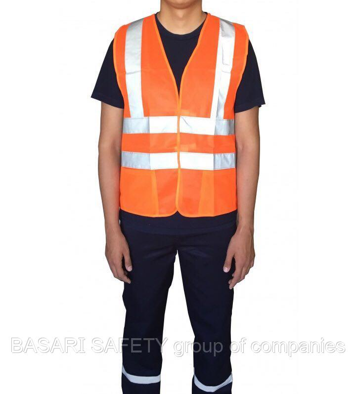Жилет сигнальный с карманами (с СОП, липучки, оранжевый)