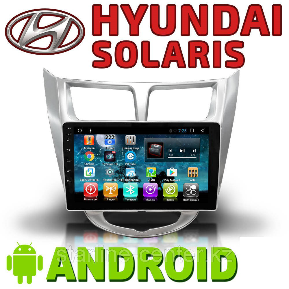 Автомагнитола Hyundai Solaris Accent Android.