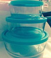 """Набор контейнеров с крышкой .""""cristal""""0,5.0,75.1,2л. Стекло .для хранения и свч."""