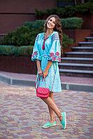 Платье короткое с клином Роза Новая лен мятный вышивка бордо